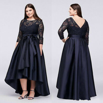 f46e454992f5e Navy Blue Plus Size Mother Of the Bride Groom Dresses High Low With Half  Sleeves