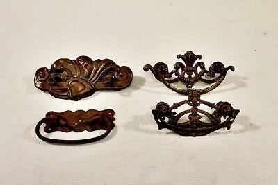 Lot of 4 Assorted Brass and Cast Iron Drawer Pulls Victorian Deisgn
