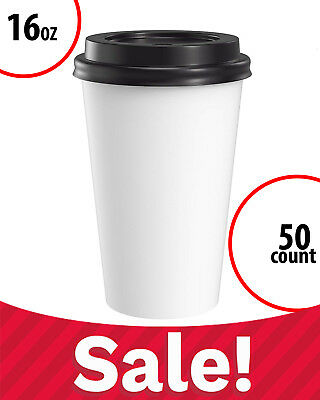 Paper Coffee Cups White with Black Lids Large 16 oz 50 Count Disposable Bulk