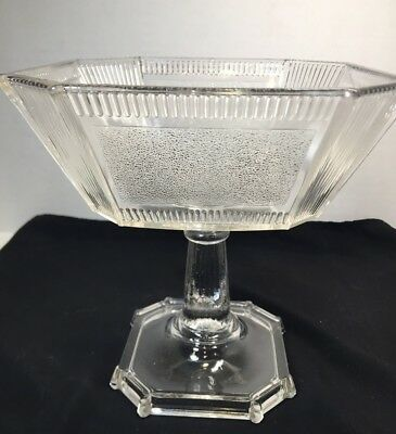EARLY AMERICAN PATTERN GLASS EAPG Pleat and Panel OPEN COMPOTE, CHIP
