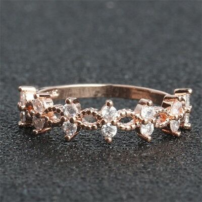 Simple Cubic Zirconia Stone Thin Ring Rose Gold Engagement Rings For Women Boho