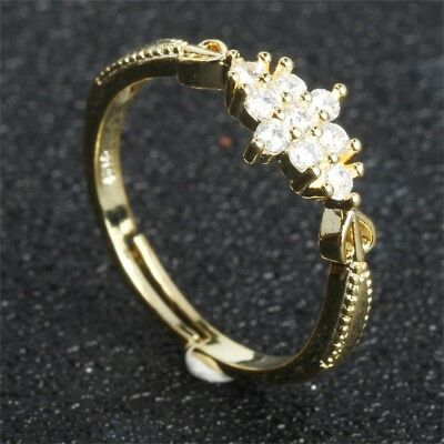 Simple Cubic Zirconia Small Stone Thin Ring Gold Engagement Rings For Women