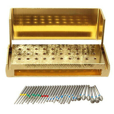 30x Dental Diamond Burs Drill & Disinfection Holder Block High Speed Hand lilk