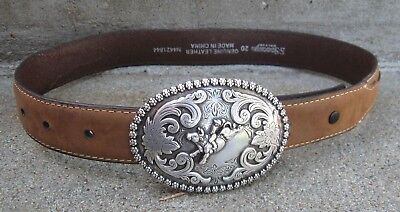 Nocona Children's Leather Belt & Bull Riding Rodeo Buckle Size 20 N4421844