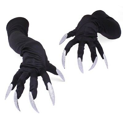 New Fashion Adult Long Witch Gloves Nails Black Costume Halloween Monster US