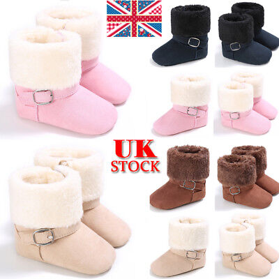 UK Toddler Baby Girls Winter Snow Fur Boots Kids Flats Warm Comfy Shoes Size