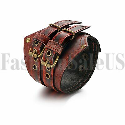 Punk Men's Biker Revit Wide Leather Belt Chain Brown Bracelet Cuff Wristband New