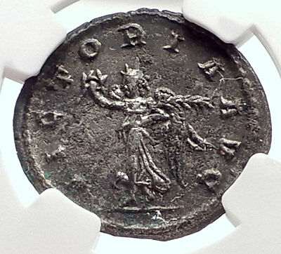 GALLIENUS Authentic Ancient 263AD Antioch Genuine Roman Coin VICTORY NGC i72107