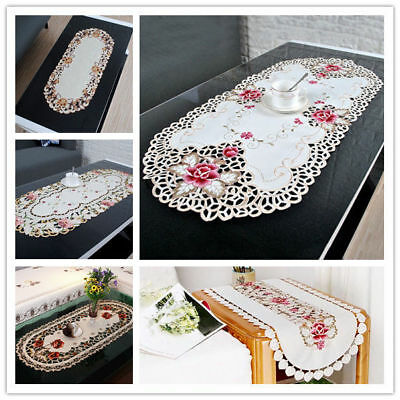 Vintage Embroidered Lace Tablecloth Floral Table Cloth 16x33inch Satin Fabric
