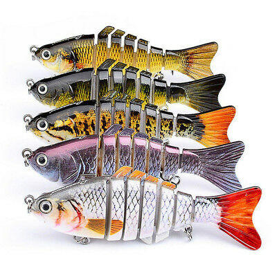 7 Sections Multi Jointed Fishing Lure Fishing Bait Crankbait Hooks Swimbait 10CM