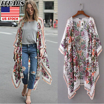 US Women Boho Long Loose Flowy Shawl Kimono Duster Cardigan Cover Up Top Blouse