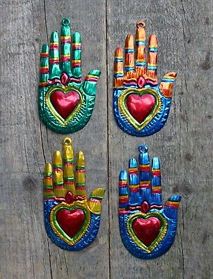 Mexican Tin Milagros - SOLD SEPERATELY - Hands & Flaming Hearts Oaxaca Folk Art