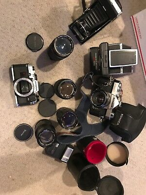 Vintage Camera And Lens Lot Konica, Polaroid. Kodak, Soligor And More - Untested