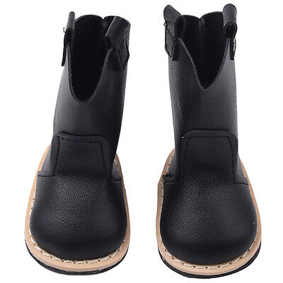 Fashion Lovely Shoes Toy Black PU Leather Boot For 18inch Doll New. kijp