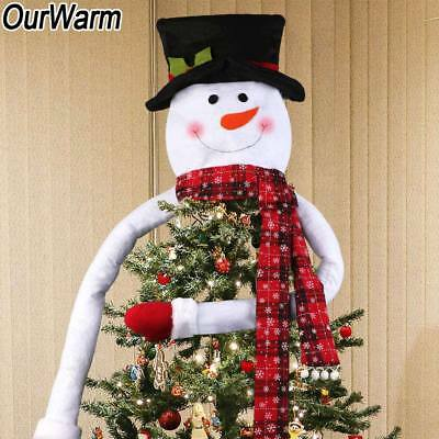 Christmas Tree Top Topper Cover Snowman Hat Xmas Tree Holiday Ornaments Decor