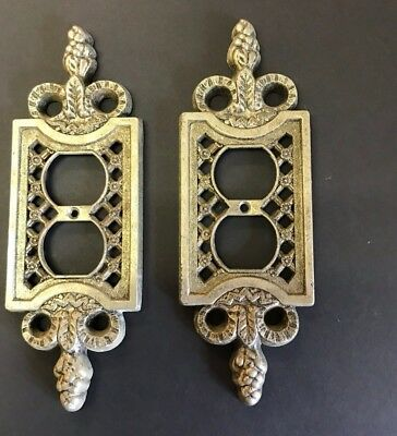 vtg Pair Double Switch Plate Ornate Victorian Decor Heavy Metal Antique