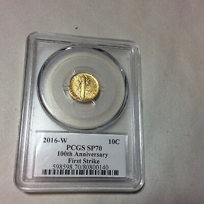 2016 - W PCGS SP70 100th Anniversary Mercury dime gold