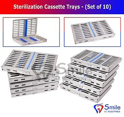 10 Dental Autoclave Sterilization Cassettes Rack Box Tray For 10 Instruments UK