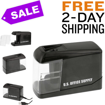 Electric Pencil Sharpener Automatic USB Cable or Battery for Home Office Black