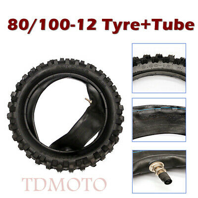 """12 inch Rear Knobby Tyre&Tube 12"""" 80/100-12 Tire Dirt Pit Bike motorcycle Buggy"""