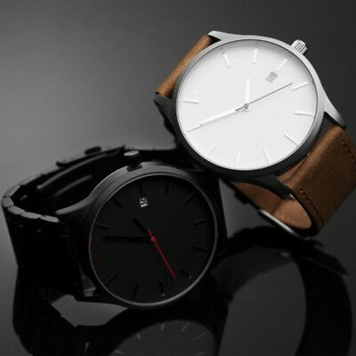 Men's Fashion Sport Stainless Steel Watch Leather Band Quartz Analog Wrist Watch