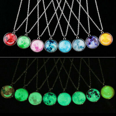 Full Fluorescent Rising Moon Luminous Chain Pendant Necklace Glow In The Dark