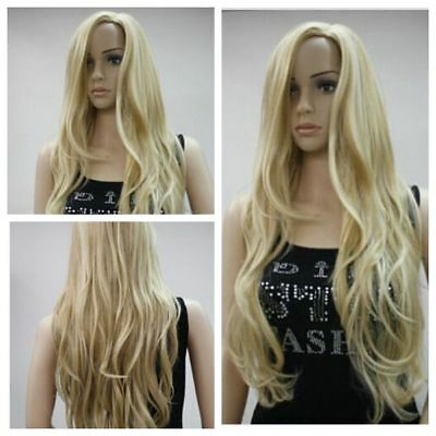New Long Light Blonde Curly Hair Heat Resistant Wavy Cosplay Womens Full Wigs