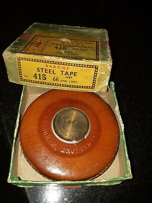 Vintage John Rabone & Sons Wind Up Steel Measuring Tape W. Brass Handle Leather