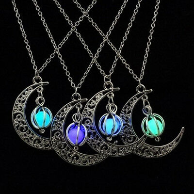 Silver Luminous Stone Glow In The Dark Necklace Moon & Pumpkin Pendant Jewelry