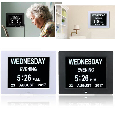 Digital Day Clock Calendar Alarms Memory Loss Dementia Elderly Large Date Time