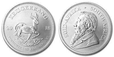 2 x  2018 1oz South African Krugerrand 1 ounce Silver Bullion Coin unc: