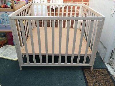 Babydan White Wooden Playpen Cot