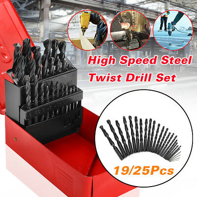 19/25Pcs Twist HSS High Speed Steel Drill Bit Set Metric Tool Precision 1-13mm