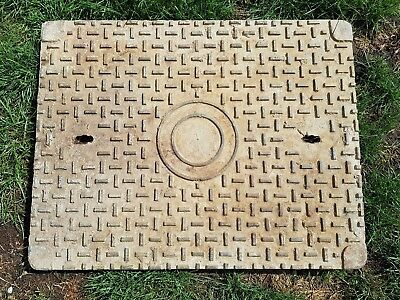 "26 1/2"" x 20 1/2"" Reclaimed Old Heavy Cast Iron Manhole Cover Only."