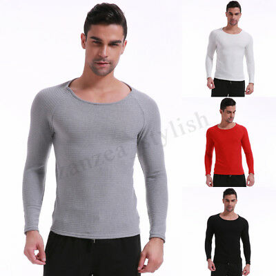 Mens Knitted Jumper Crew Neck  Pullover Sweater Top Autumn Winter Underwear Vest