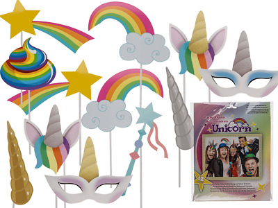 PHOTO BOOTH PROPS Birthday Wedding Party Accessories on Sticks UNICORN Selfie