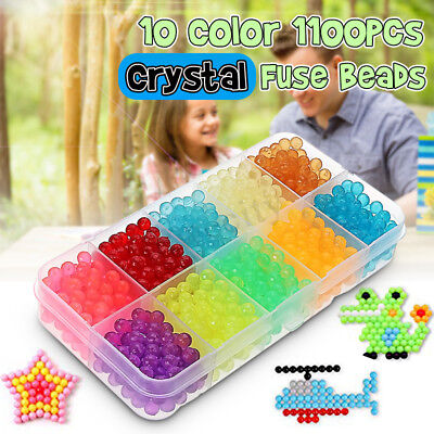 1100Pcs DIY Aqua Refills Fuse Beads Water Sticky Craft Art Toys Kids Puzzle Gift