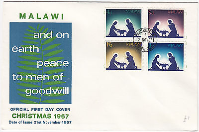 W8071 Malawi first day cover 1967. Christmas cover - 4 stamps