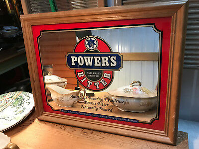Vintage Australian Power's Bitter Beer Mirror Bar Man Cave Timber Frame