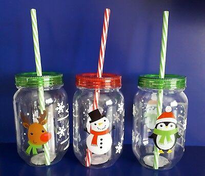 Plastic Personalised Christmas Beaker / Tumbler With A Straw ( ANY NAME )