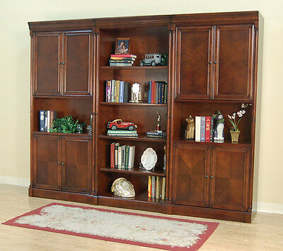 Dark Brown Cherry 3 Piece Office Bookcase Set or Library Bookcase Wall