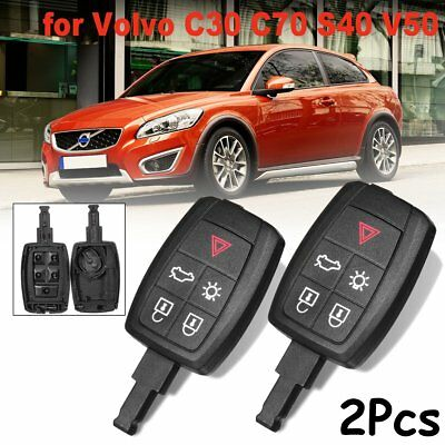 2x keyless entry remote car key fob shell case cover for volvo c30