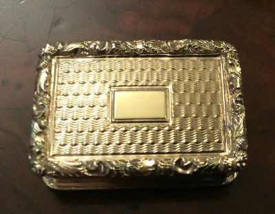 Solid Sterling Silver Gilt Vinaigrette Made By Nathaniel Mills Date 1838