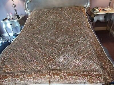 antique textile silk hand printed throw bed or table cover