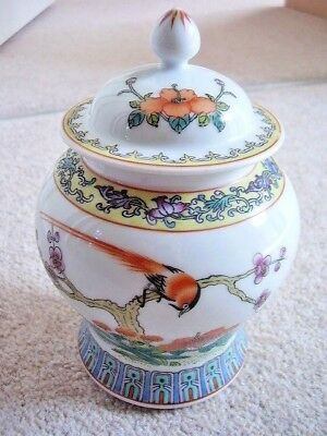 Collectable Chinese porcelain  Yellow Glaze BIRD Painting vase with cover