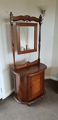 Unique Timber Antique Hall Stand With Mirror / Vanity