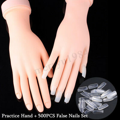 Practice Nail Art Training Hand Trainer Acrylic Gel False Tip Tool + 500 Nails