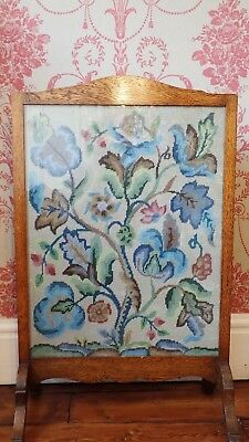 Vintage Floral Tapestry Fire Screen, Embroidered & Wooden Frame, Free-Standing