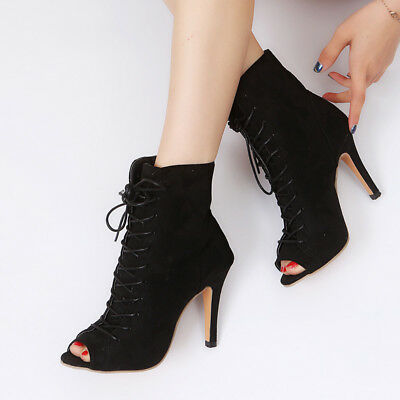 Fashion Women Ladies Lace Up Peep Toe Sock Boots High Heel Comfy Shoes Plus Size