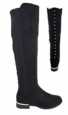 Ladies Womens Over The Knee Boot Studded Zip Stretch Flat Heel High Boots Sz 3-8